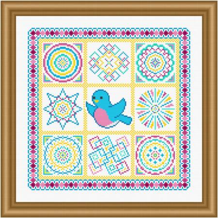 cross stitch pattern Bluebird Coverlet
