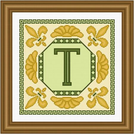 cross stitch pattern Classic Monogram - T