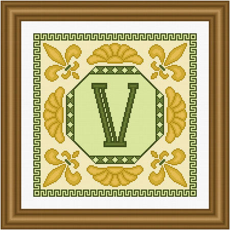 cross stitch pattern Classic Monogram - V