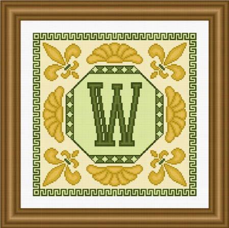 cross stitch pattern Classic Monogram - W