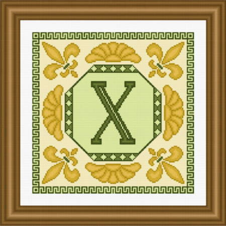 cross stitch pattern Classic Monogram - X