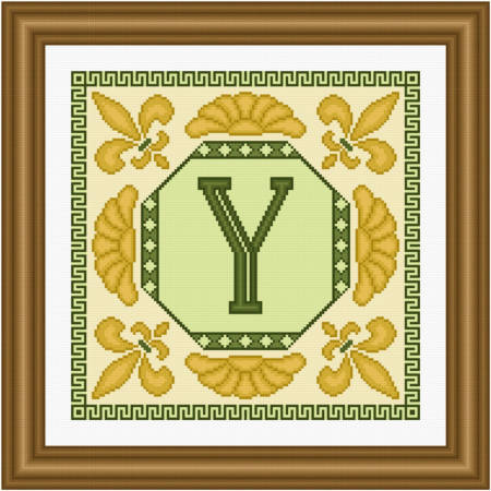 cross stitch pattern Classic Monogram - Y