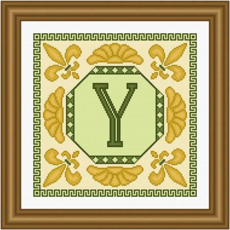 cross stitch pattern Classic Monogram - Y