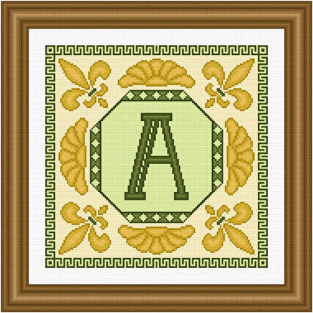 cross stitch pattern Classic Monogram - A