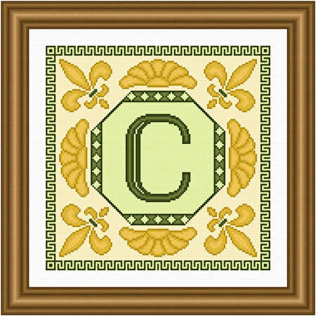 cross stitch pattern Classic Monogram - C