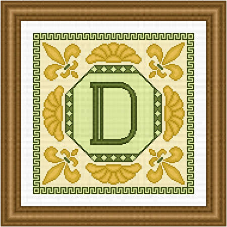 cross stitch pattern Classic Monogram - D