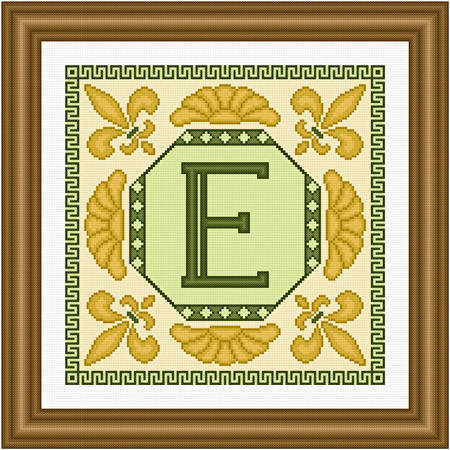 cross stitch pattern Classic Monogram - E