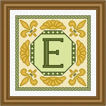 cross stitch pattern Classic Monogram - E