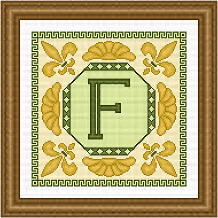 cross stitch pattern Classic Monogram - F