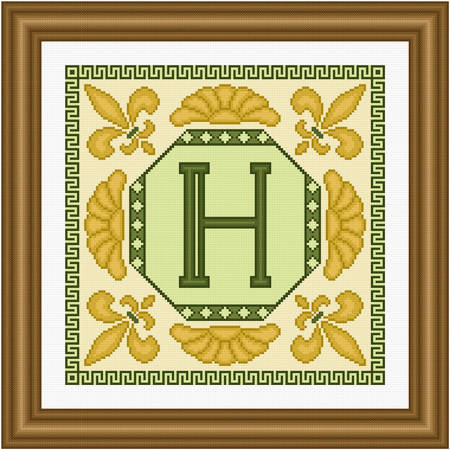 cross stitch pattern Classic Monogram - H