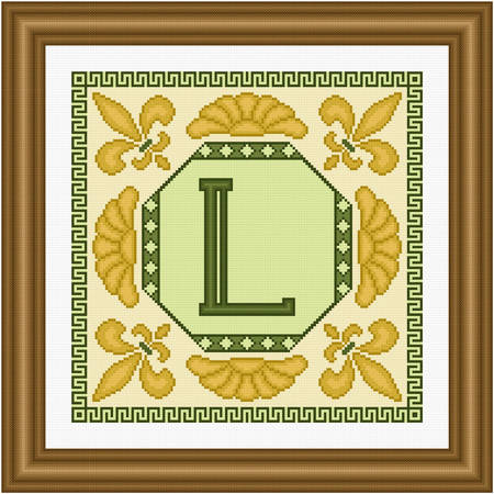 cross stitch pattern Classic Monogram - L
