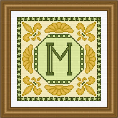 cross stitch pattern Classic Monogram - M