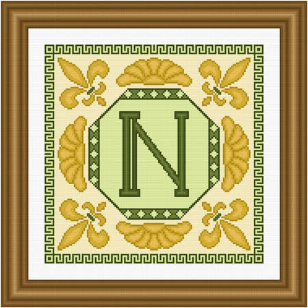 cross stitch pattern Classic Monogram - N