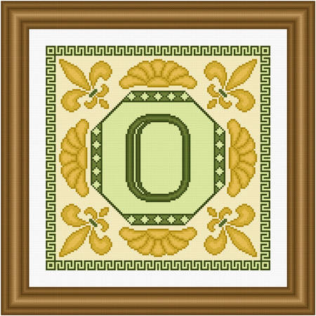 cross stitch pattern Classic Monogram - O