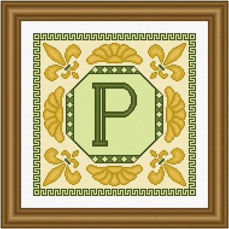 cross stitch pattern Classic Monogram - P