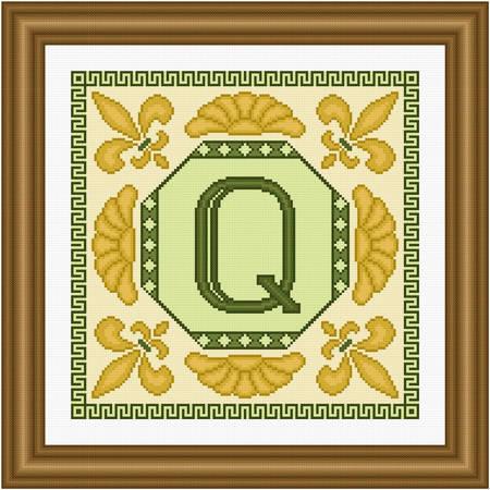 cross stitch pattern Classic Monogram - Q