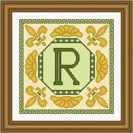 cross stitch pattern Classic Monogram - R