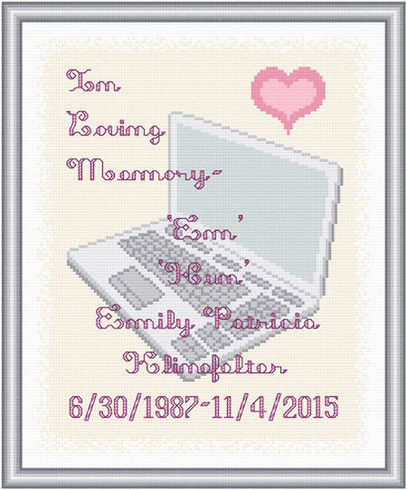 cross stitch pattern In Loving Memory - Laptop