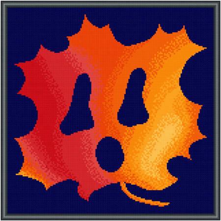 cross stitch pattern Autumn Leaf Ghost