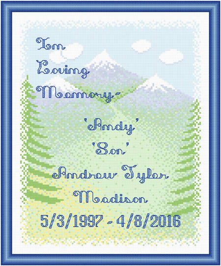 cross stitch pattern In Loving Memory - Mountains