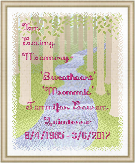 cross stitch pattern In Loving Memory - Stream / Woods