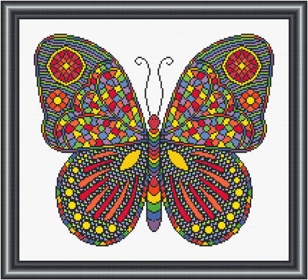 cross stitch pattern Mosaic Butterfly  (dark 'grout')