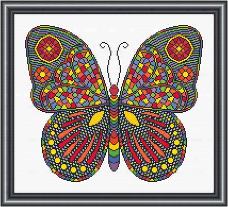 cross stitch pattern Mosaic Butterfly  (dark 'grout')