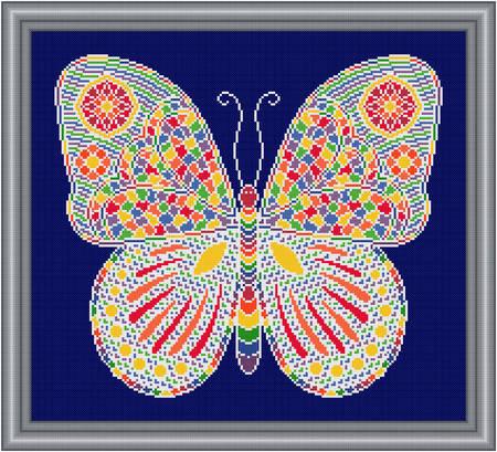 cross stitch pattern Mosaic Butterfly (light 'grout')