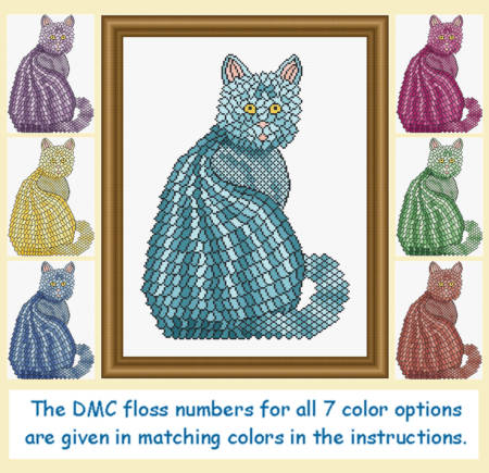 cross stitch pattern Mosaic Cat   (dark 'grout')