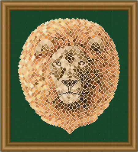 cross stitch pattern Mosaic Lion   (Light 'Grout')