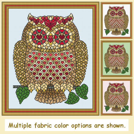 cross stitch pattern Mosaic Owl - Love   (dark 'grout')