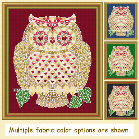 cross stitch pattern Mosaic Owl - Love   (light 'grout')