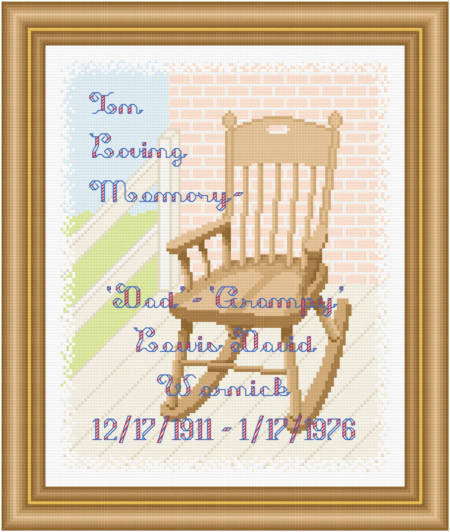 cross stitch pattern In Loving Memory - Wooden Rocking Chair