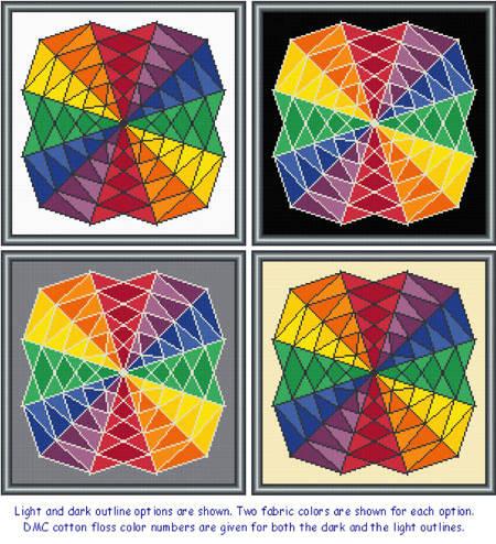 cross stitch pattern Twirling Rainbows