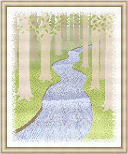 cross stitch pattern Scenery - Woodland Retreat