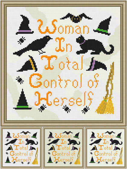 cross stitch pattern W. I. T. C. H.