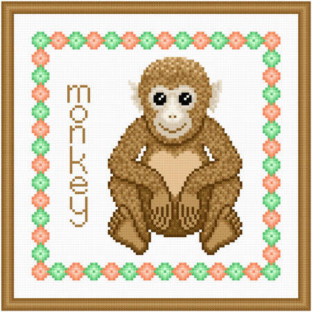 cross stitch pattern Baby Monkey