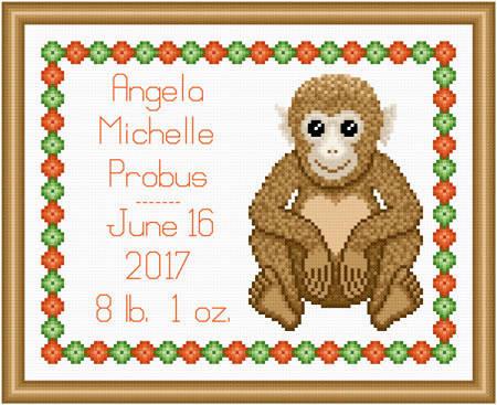 cross stitch pattern Baby Monkey Birth Record