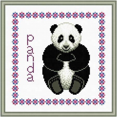 cross stitch pattern Baby Panda Birth Record