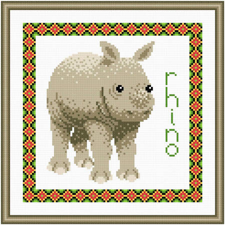 cross stitch pattern Baby Rhino