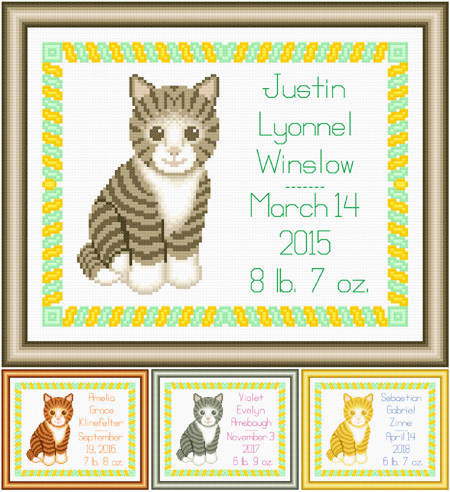 cross stitch pattern Baby Striped Kitten Birth Record