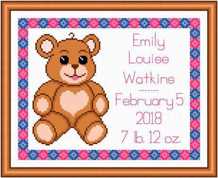 cross stitch pattern Baby Teddy Birth Record