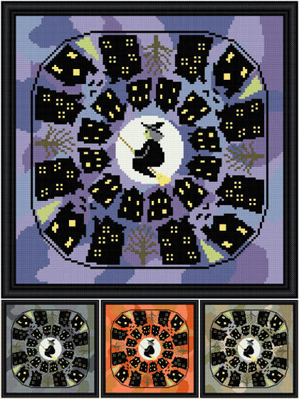 cross stitch pattern Eerie Neighborhood - Black Houses