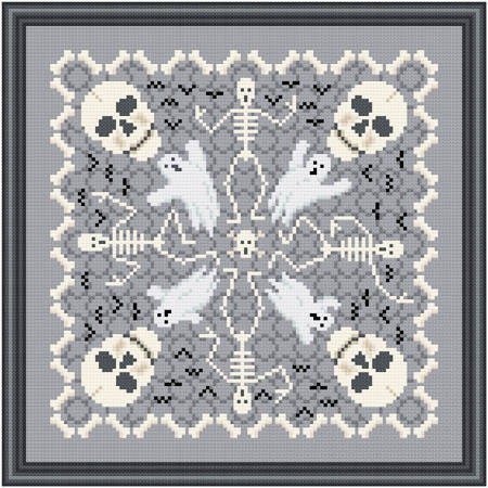 cross stitch pattern Spooky Bones and Friends