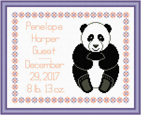 cross stitch pattern Baby Simple Panda Birth Record