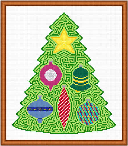 cross stitch pattern Christmas Tree Maze