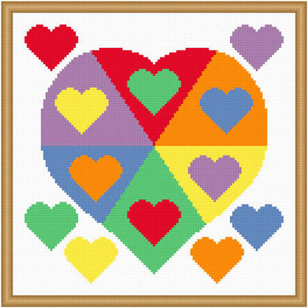 cross stitch pattern Color Wheel Heart