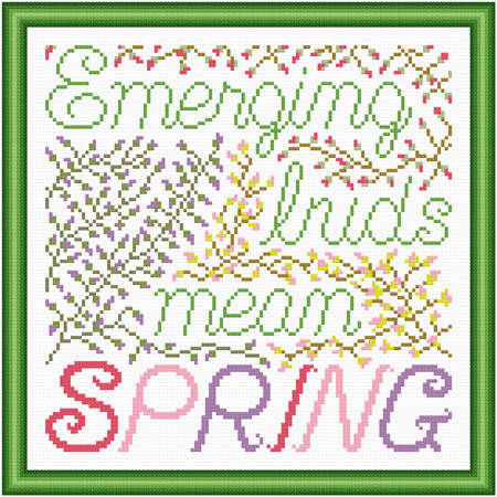 cross stitch pattern Emerging Buds Mean Spring