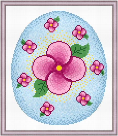 cross stitch pattern Easter Egg Design #3 - Flowers