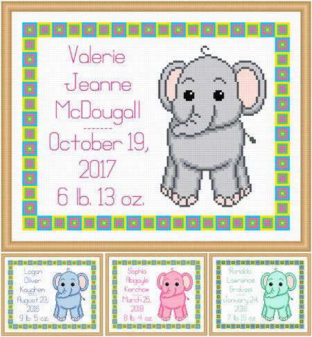 cross stitch pattern Baby Elephant Birth Record
